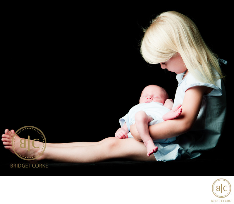 Sister with Newborn Brother Portrait