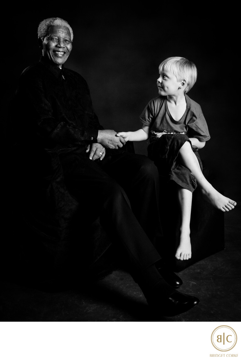 Nelson Mandela with Bridget Corke's Son Taken During Private Family Portrait Photographic Session With Graca Machel and Her Children and Grandchildren
