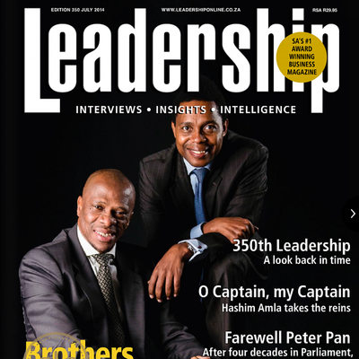 Cover of Leadership Magazine Ledwaba Mazwai