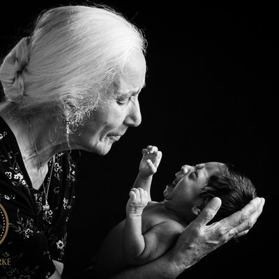 Newborn with Grandmother in Studio