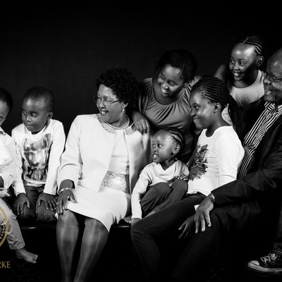 Spontaneous Large Family Photographic Studio Shoot