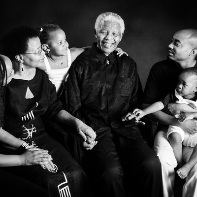 Nelson Mandela,Graca Machel and grandchildren Photographed in 2008
