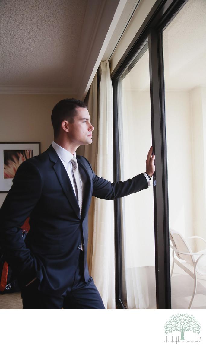 Groom portrait photograph at the Marriott Desert Springs Hotel