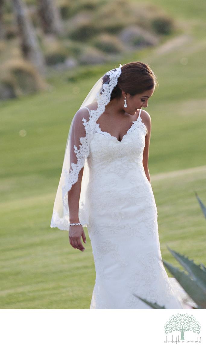 Natural desert bridal portrait in Palm Springs California