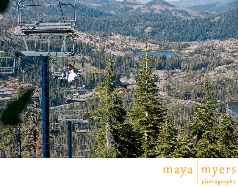 Wedding Ski Lift Portraits
