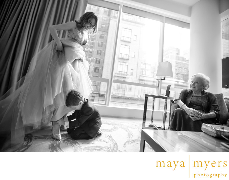 Manolo Blahnik wedding shoes and and Vera Wang dress