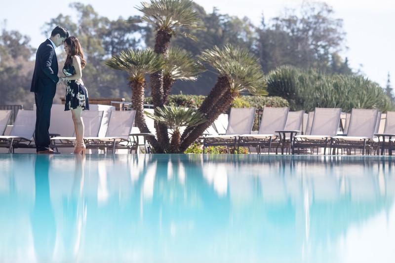 Trendy Bacara Resort Engagement Photographer