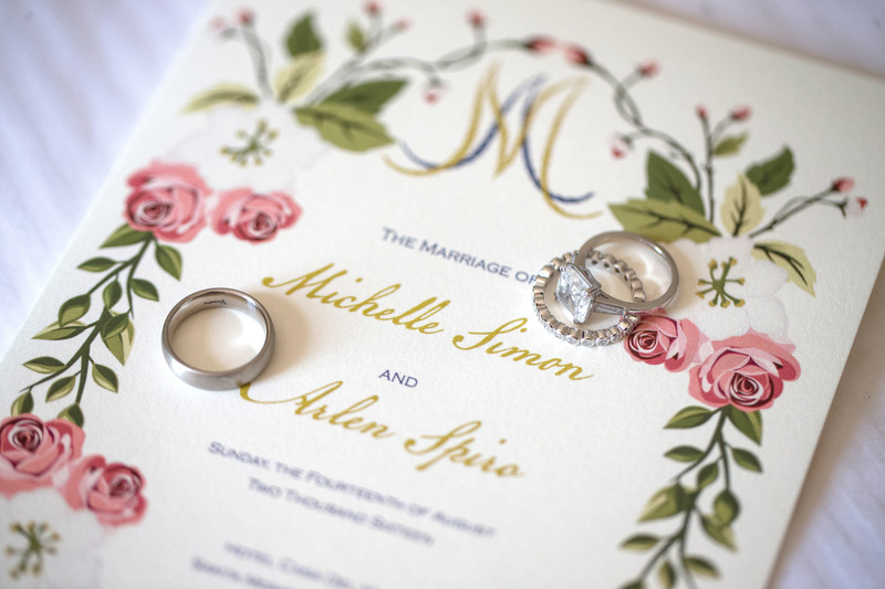 Wedding Invitation and Ring Details in Santa Monica, CA