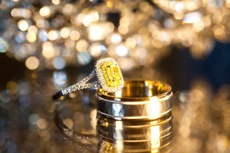 Sparkling Bride and Groom's Ring Set Photography