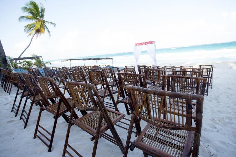 Ceremony Decor Setup on the Beaches of Tulum, Mexico
