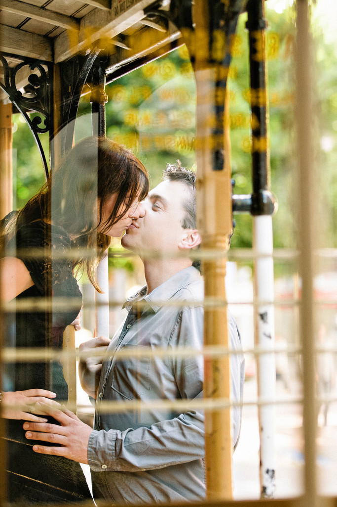 Engagement Photo on a Trolley in San Francisco, CA.
