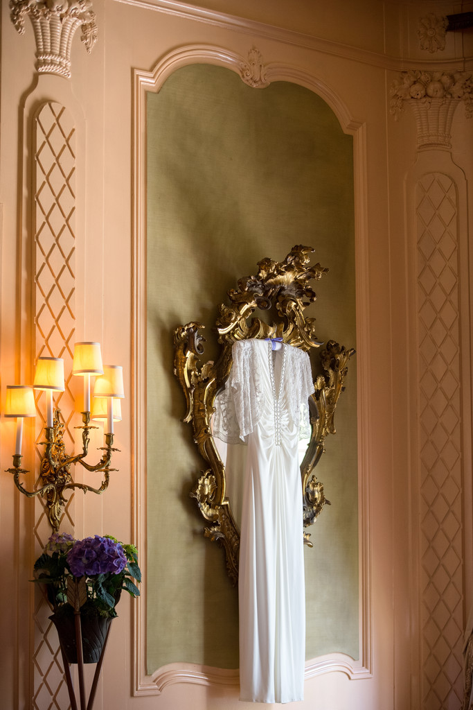 Elegant Wedding Gown on display at the California Club in Los Angeles