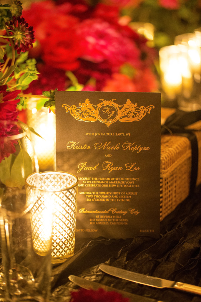 Wedding Day Invitation Lit by Candlelight