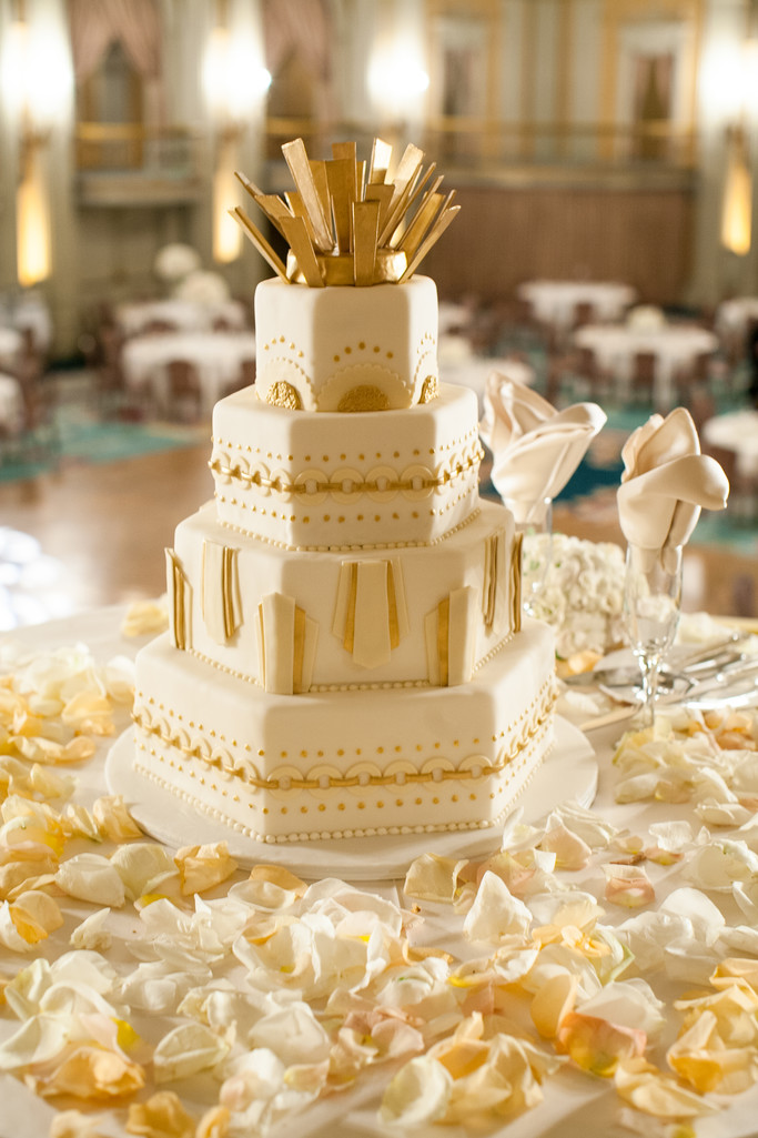 Breathtaking Wedding Cake in the Crystal Ballroom at the Millennium Biltmore Hotel