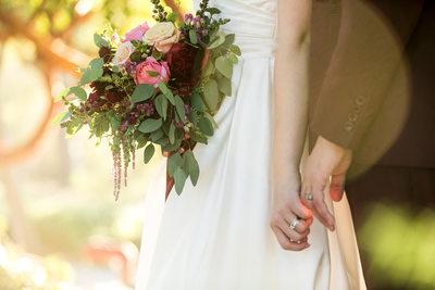 Bridal Bouquet and Wedding Ring Details at Elings Park, Santa Barbara