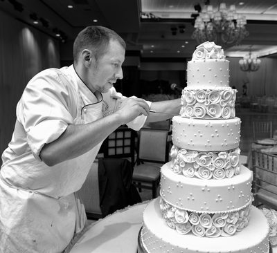Pastry chef in action.