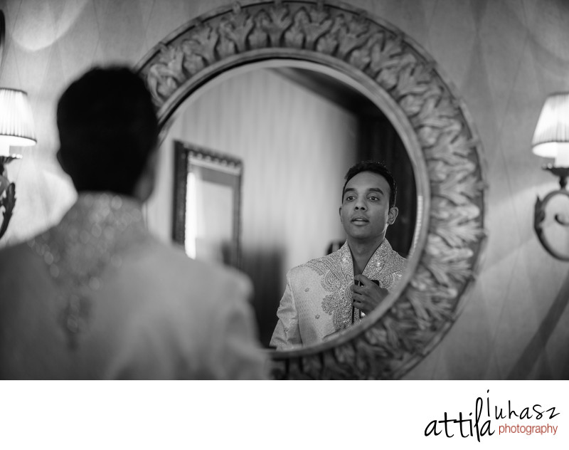 Groom getting ready reflection