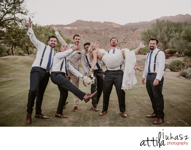 Groomsmen and a bride