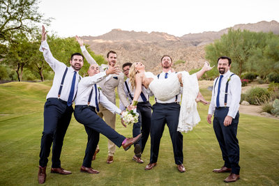Bride with groomsmen's