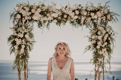 Bride portrait and the Pacific