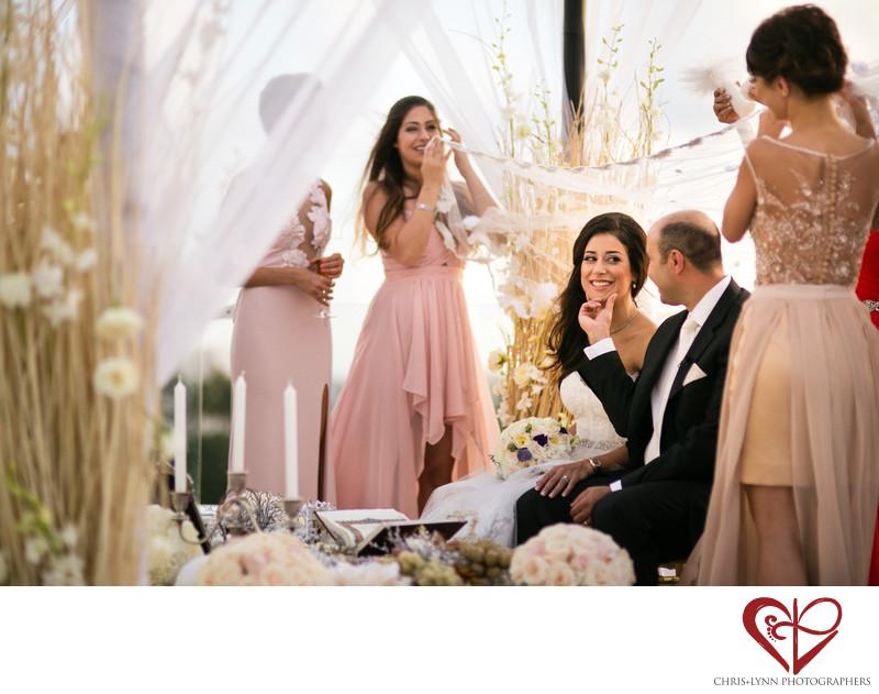 Bride Smiles at Persian Ceremony, Le Blanc Wedding