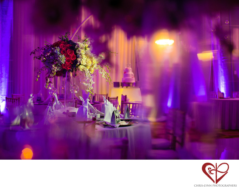 Purple and Pink Reception Decor, Le Blanc Hotel Wedding
