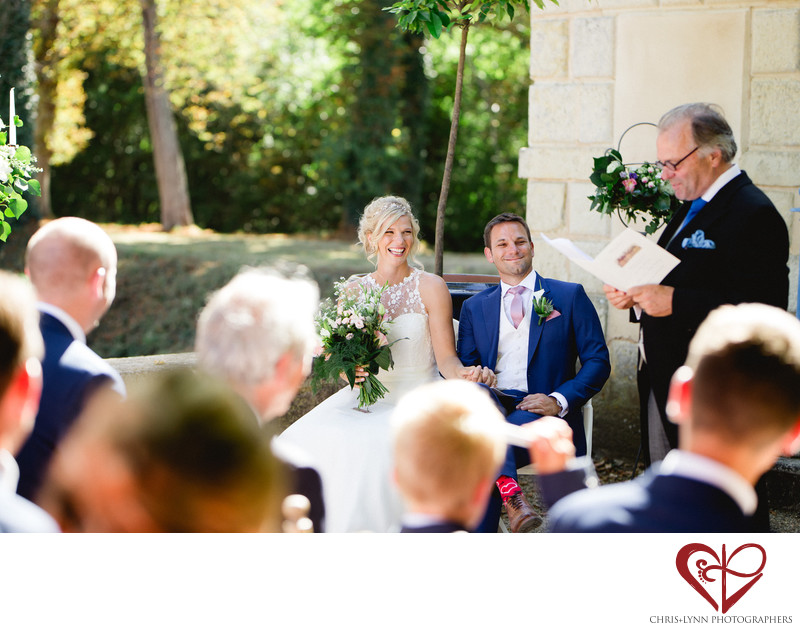 Chateau de St Loup Wedding Photos, ceremony officiant