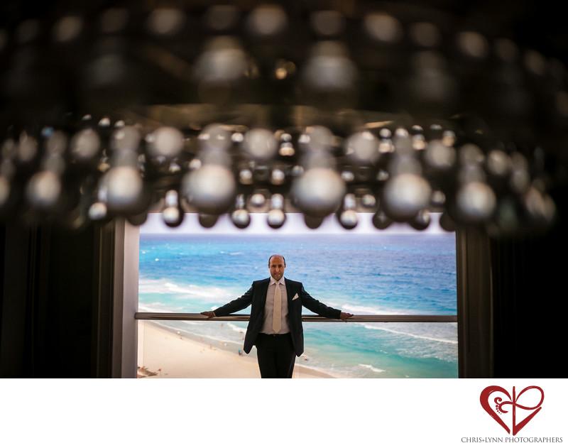 Groom portrait Le Blanc Resort Cancun