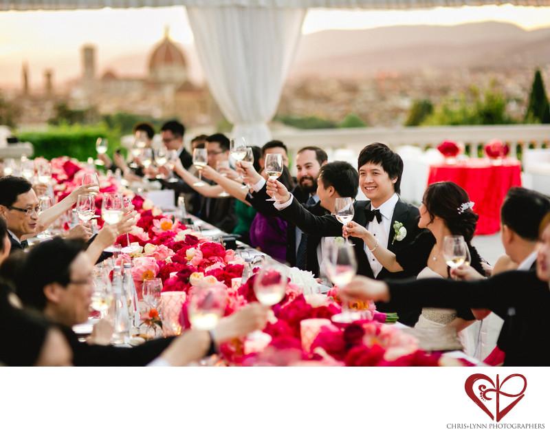 Villa La Vedetta Wedding reception, toasts