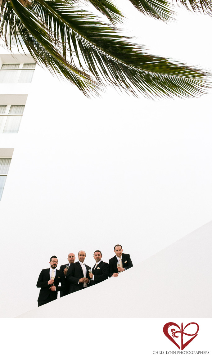 Groomsmen and Palm Tree at Le Blanc Resort Wedding