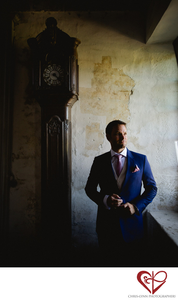 Chateau St Loup Wedding Photography, groom portrait 3