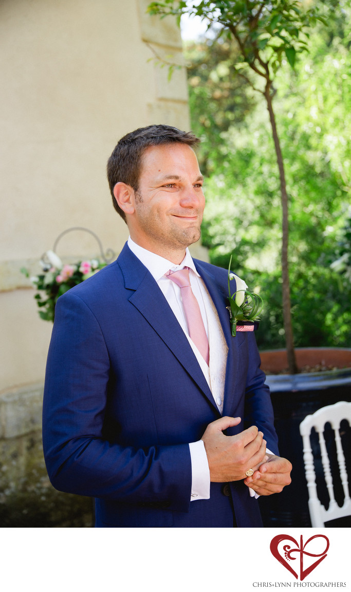 Chateau de St Loup Wedding Photos, ceremony, groom