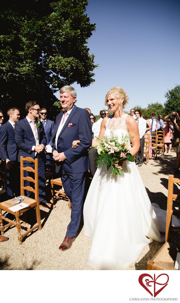 Chateau de St Loup Wedding Photos, ceremony, father of bride