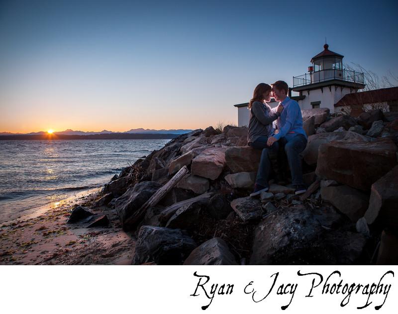 Engagement photo West Point Lighthouse Seattle