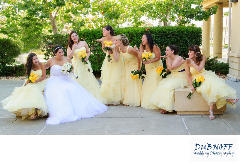 girls laughing bridal party photo