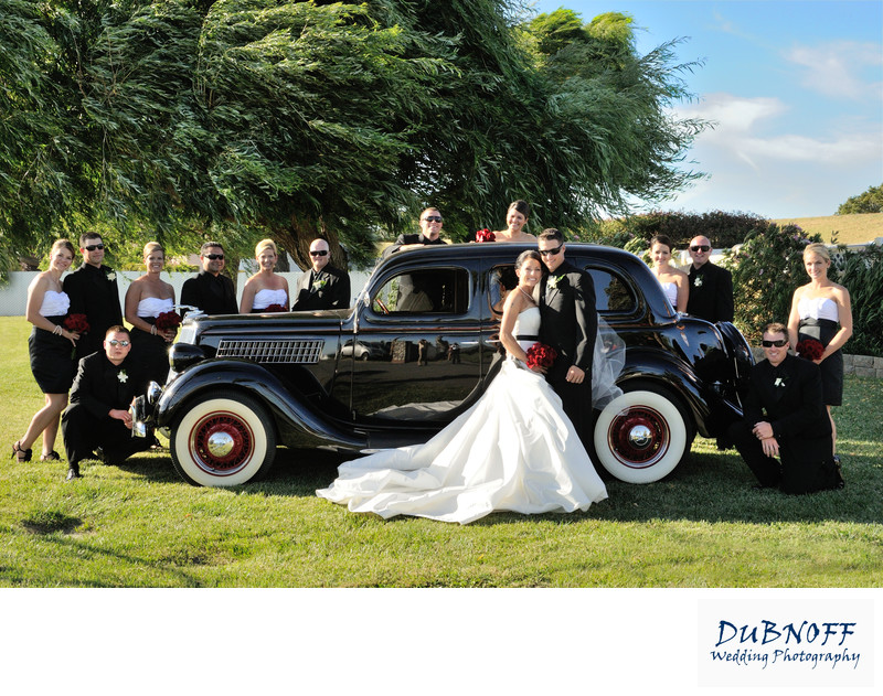 classic car bridal party