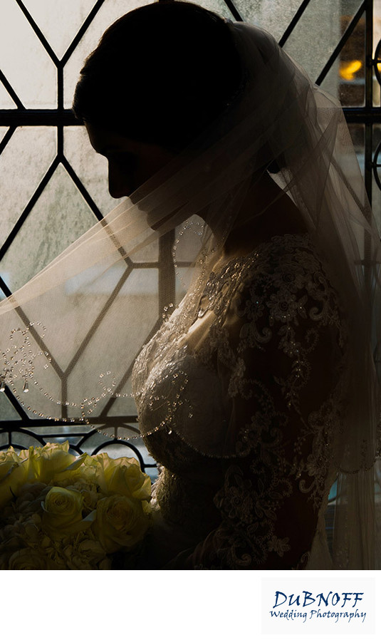 city hall window shot - bridal silhouette portrait