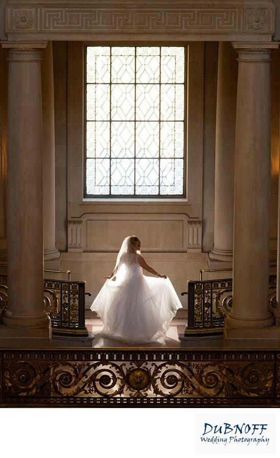 sf city hall wedding photography back lit bride