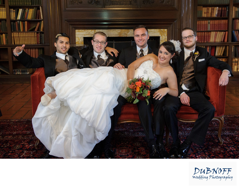bride with guys