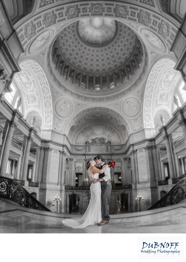 San Francisco Marriage in Black and White - Photo Taken in the Rotunda