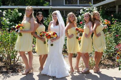 bridesmaids in rose garden