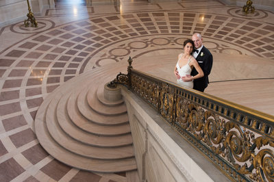 grand staircase railing wedding photography
