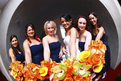 bridal party with flowers