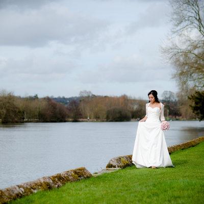Beautiful bride after her church wedding