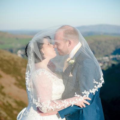 Shropshire wedding - couple portrait at Long Mynd