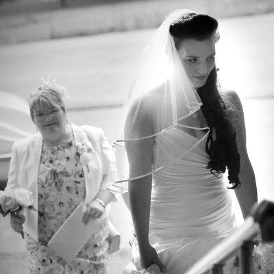 Bride arriving at her wedding ceremony