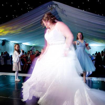 Bride hitting the dance floor at Nailcote Hall wedding