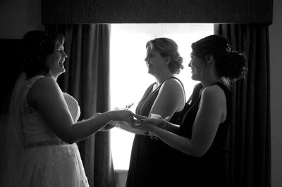 Bride and bridesmaids at Nailcote Hall, Warwickshire