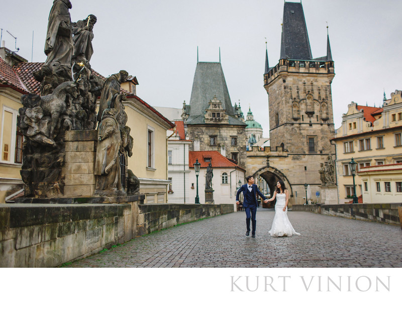 Prague Charles Bridge destination pre wedding photos