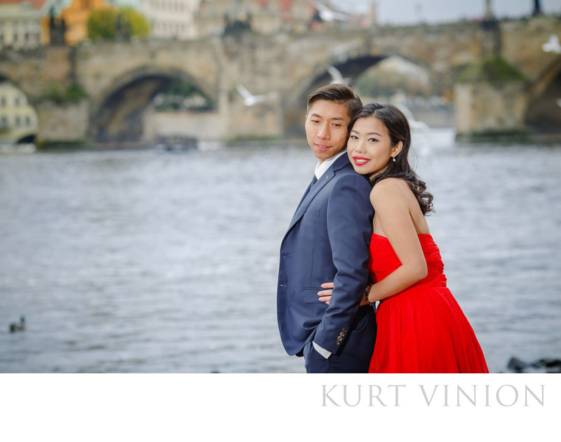 overseas photo shoot near the Charles Bridge in Prague